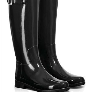 Hunter black shine knee high boots